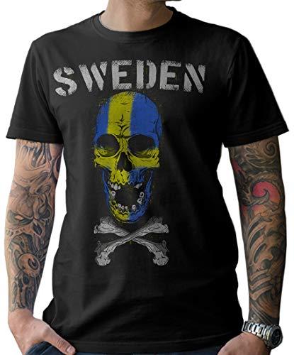 NG articlezz Herren T-Shirt Shirt Handball Skull Fanshirt WM 2019 Schweden Sweden