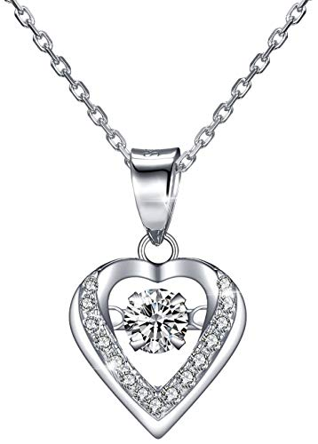 Veecans collana donna sparkling dance heart in argento s925 con pendente cuore danzante realizzato con zircone swarovski, luxury collection regalo per natale, prolunga 40+5cm