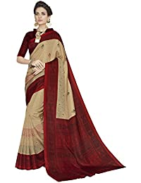 Pisara Women's Cotton Printed Saree With Blouse,Beige & Maroon