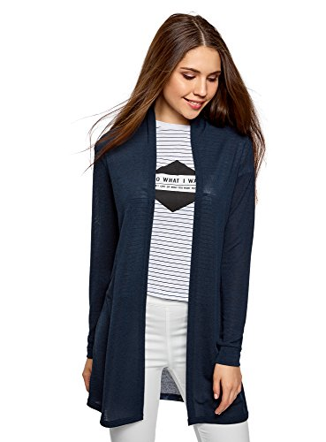 oodji Collection Damen Leichter Verschlussloser Cardigan, Blau, DE 44 / EU 46 / XXL