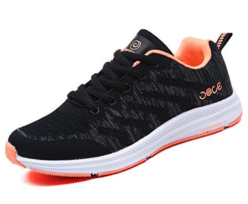 Santimon Chaussures de Sport Respirant Engrener Tennis Mode Aptitude Chaussures de Course Femmes Hommes Flyknit Décontractée Léger de Plein Air Noir