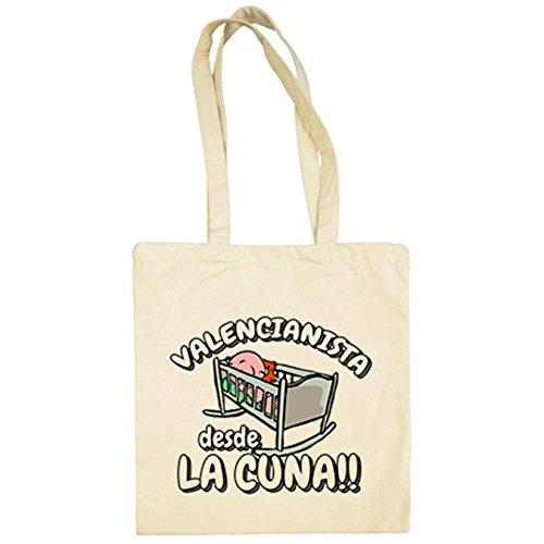 Bolsa de tela Valencianista desde la cuna Valencia fútbol - Beige, 38 x 42 cm