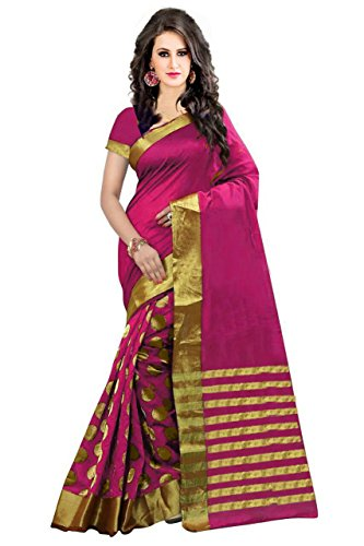 PerfectBlue Women's Cotton Silk saree With Blouse Piece (Pink)