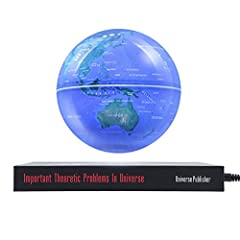 Idea Regalo - 6 Pollici Globo Magnetico Levitazione con LED Luci Mappamondo Luminoso per Decorazione di Casa Ufficio Blu