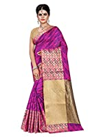 Shonaya Women's Printed Banarasi Art SIlk Pink Designer Saree With Unstitched Blouse Piece