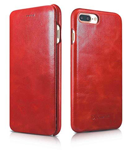 ICARER Luxus Tasche für Apple iPhone 8 Plus und iPhone 7 Plus (5.5 Zoll) / Case mit Echt-Leder Außenseite/Schutz-Hülle aufklappbar/Ultra-Slim Cover/Etui im Vintage Look/Rot - Apple Iphone Holster