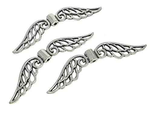 Perlin - 20 Flügel Engel Metallperlen Engelsflügel Perlen 52mm Metall Spacer Schmuckteile M444 x 2