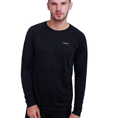 H.MILES Herren Running T-Shirt Langarm Sport Lauf Funktionsshirt Fitness Base Layer Cool Kompressionsshirt Training Tennis Sportshirt Männer Jersey (Base Lightweight Layer Top)