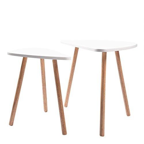 Zerone Table Basse en Bois Blanc, Lot de 2 Tables Basses Triangulaires en MDF Moderne Table d'appoint Blanche/Noire pour Salon Chambre Bureau Cusine Salle à Manger(Blanc)