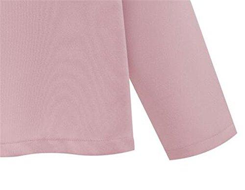 Kerlana Soprabito Donna Manica Lunga Autunno Invernale Puro Colore Camicetta Arco Bello Giacca Cardigan Semplice Elegante Pink