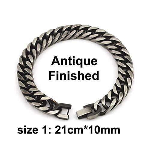 OU1CHAIN Armreif, Men Bracelet Silver Color/Gold Color Black Stainless Steel Bracelet & Bangle Male Accessory Hip Hop Party Rock Jewelry Antique Finish 10mm -