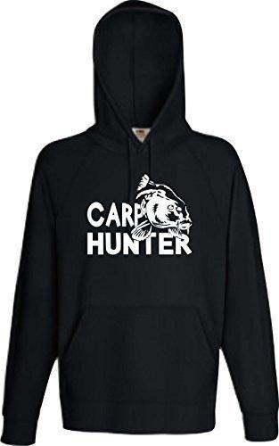 ShirtInStyle Kapu College Hooded, Karpfen Hunter Angeln Karpfen Fischen Sport schwarz, L