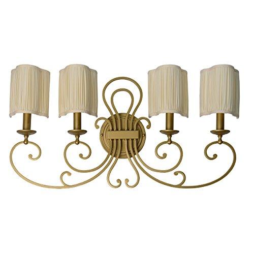 Lampada da parete grande colore oro antico metallo paralume tessuto a pieghe in stile barocco classico contemporaneo 4-bulb esclud.E14 4x40W 230V