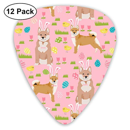 Shiba Inu Spring Easter Eggs Bunny Dog Breed Pink Classic Celluloid Picks, 12-Pack, For Electric Guitar, Acoustic Guitar, Mandolin, And Bass