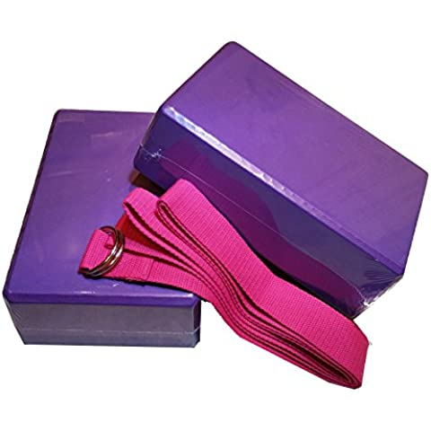 MyYogaWheels UK - Set di 2 blocchi di colore viola e cinghia elastica rosa per pilates, yoga