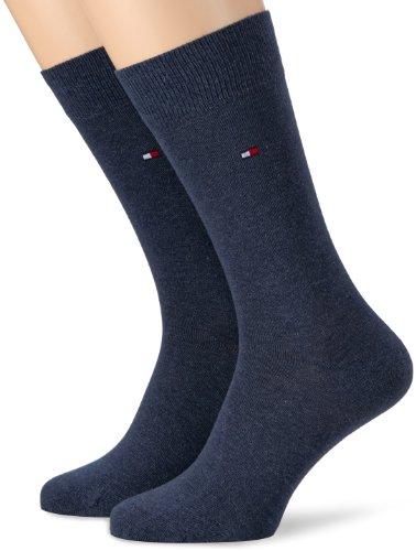 Tommy Hilfiger Herren Socken 2er Pack, Gr. 39-42 Blau (Jeans) (Drucken Logo Baumwolle)