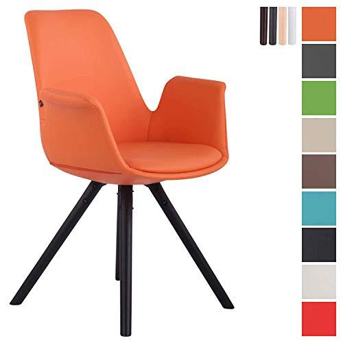CLP Esszimmerstuhl Prince Kunstleder Rund I gepolsterter Sitz mit Kunstlederbezug I Besucherstuhl mit runden Buchenholzgestell Orange, schwarz