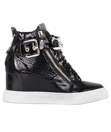 4243-BLK-3: Damen Glitter High Top Sneaker Wedge Keilabsatz (Schwarz, Gr.36) (Retro-frauen-basketball-schuh)