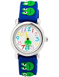 Arroyo Kids Time Teacher Boys Girls Children Cartoon 3D Flog Band Analog Wrist Watches (Blue)