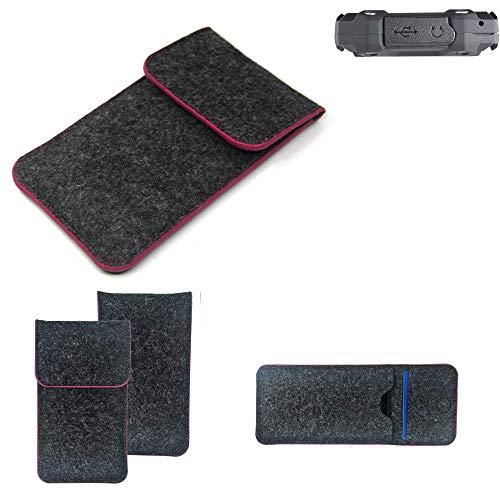 K-S-Trade® Filz Schutz Hülle Für Simvalley Mobile SPT-210 Schutzhülle Filztasche Pouch Tasche Case Sleeve Handyhülle Filzhülle Dunkelgrau Rosa Rand