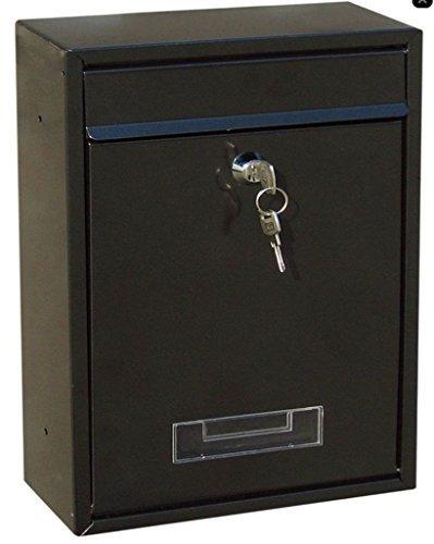 Preisvergleich Produktbild Schwarz Verschließbar Außen Briefkasten Briefpost Post Kiste Briefkasten Mit Montage Set