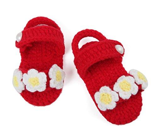 Smile YKK 1 Paar Lieber Stil Strick Schuh Baby Unisex Strickschuh 11cm lilienweiss Blume Blüte Rot1