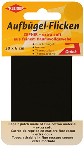 kleiber-30-x-6-cm-extra-soft-fine-cotton-iron-on-repair-tape-black