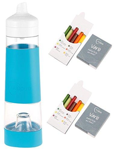 nuapua Trinkflasche 500 ml   Tragbares Trinksystem zum Zubereiten von Wasser mit Geschmack inkl. 2x6 Geschmackskapseln   natürlich und ohne Kalorien   spülmaschinenfeste Wasserflasche ideal für Sport, Reisen, Arbeit und unterwegs   Material: BPA frei   Farbe: Poolblue