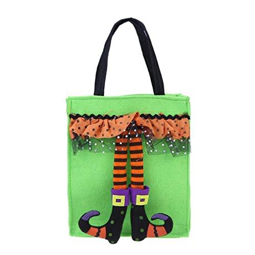 ßigkeits-Einkaufstasche Cartoon-Clown-Halloween-themenorientierte Partei-Geschenk-Taschen-Feiertags-Bonbon-Einkaufstüte, grün ()