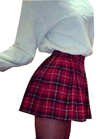 Women High Waist Skater Flared Red Check Plaid Pleated Short Mini Skirt (UK 10, Red)