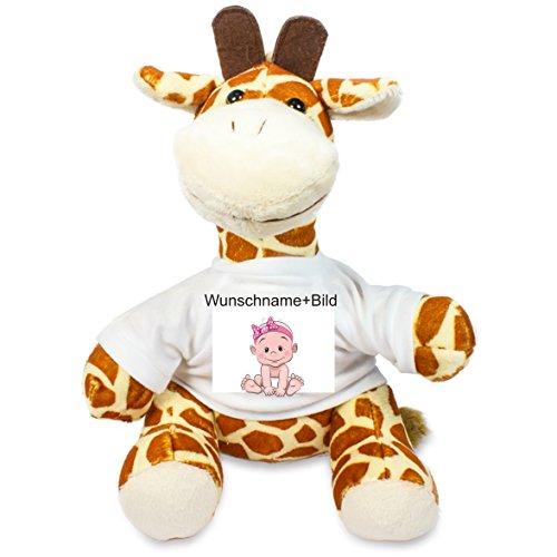 Plüsch Giraffe - Stofftier Sitzhöhe 22 cm mit T-Shirt - mit Wunschtext und Bild nach ihren Wünschen (Bilder Von Teddybären)