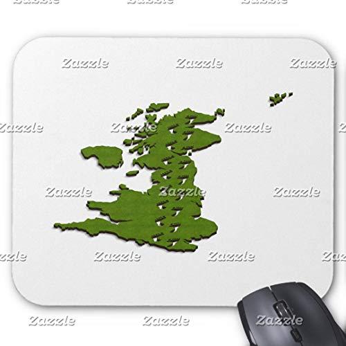 Gaming-Mauspad, rechteckig, für Computer/Laptop, 3D-Karte des Vereinigten Königreichs mit Fußabdrücken auf Mauspad