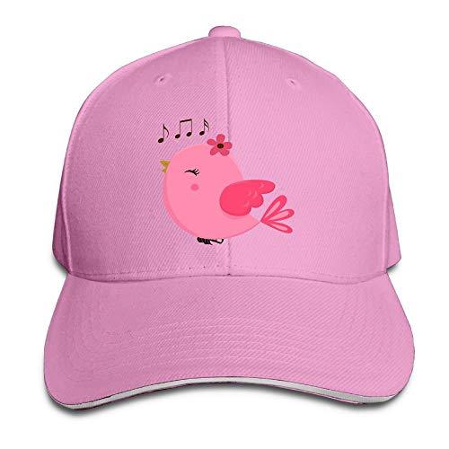 Unisex Sandwich Peaked Cap Cute Pink Bird Music Adjustable Cotton Baseball Caps