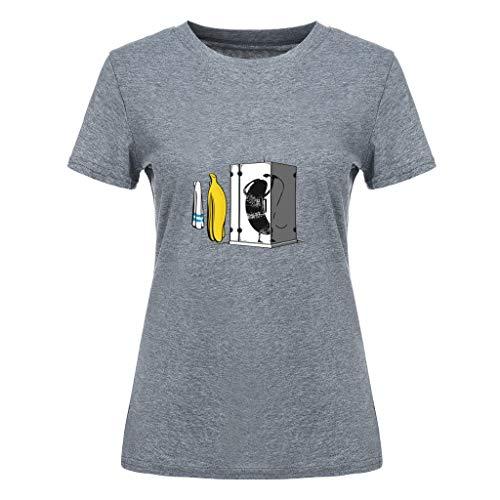 Bellelove Frauen Shirt Rundhals Kurzarm Tee Niedlicher Cartoon Drucken Tops Sommer Einfach Lässig Top Absorption Atmungsaktives T-Shirt Mehrfarbig (Halloween-kostüme Die Für Schule Niedliche)