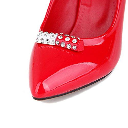 VogueZone009 Donna Tirare Tacco A Spillo Pelle Di Maiale Puro Scarpe A Punta Ballerine Rosso