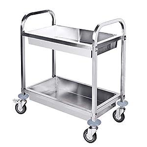 Salon Trolleys Trolley Abnehmbarer Servierwagen aus rostfreiem Stahl mit 2 Ebenen, Reinigungswagen auf Rädern mit Bremse für Badezimmer-Küche-Speicher