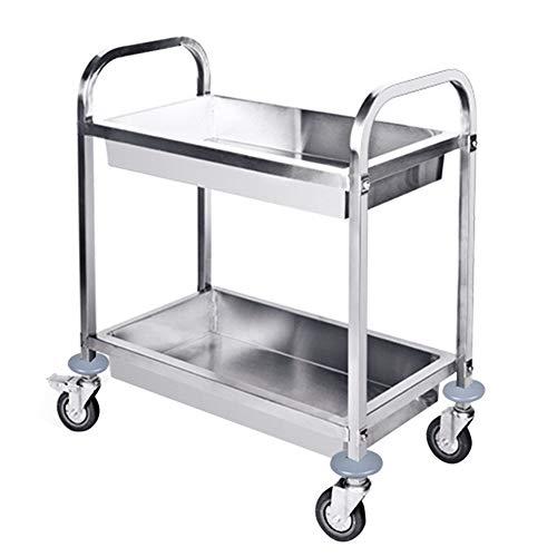 Salon Trolleys Trolley Abnehmbarer Servierwagen aus rostfreiem Stahl mit 2 Ebenen, Reinigungswagen auf Rädern mit Bremse für Badezimmer-Küche-Speicher (größe : M -80×45×90cm)