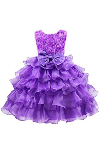 YMING Tütü Kleid Volant Blumen Hochzeits Brautjungfern Prinzessin Geburtstag Party Kleid mit Schleife,Violett,8-9 Jahre Alt