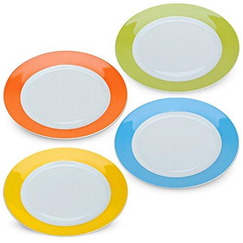 matches21 Essteller Teller Set bunt farbig 4 Stk. einfarbig Porzellan extra groß je Ø 27 cm orange grün gelb blau