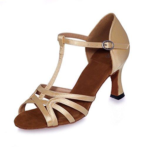 Donne scarpe da ballo Belly / Latin Dance Sneakers / Moderno / Satin Fine Vita con multicolore personalizzato Gold