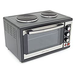 Julie Diane Mini Kitchen 45 Litre Large Capacity Worktop Oven & Grill with 2 Top Hob Hot Plates Includes Wire Rack, Enamel Baking Tray - Cooking, Grilling and Baking
