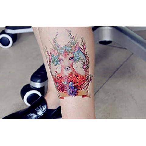 GYMNLJY Adesivi tatuaggio tatuaggio del piedino colore braccio tatuaggio adesivo personalizzato fiore realistico corpo Art Sticker(3 Sheet Pack) , 160*130mm