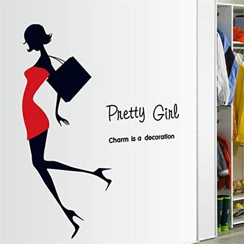 Zfkdsd Mode Mädchen Wandaufkleber Kurze Röcke High Heels Sexy Schönheit Decals Kleidung Schaufenster Weiblich Schlafzimmer Wand Kleiderschrank Aufkleber