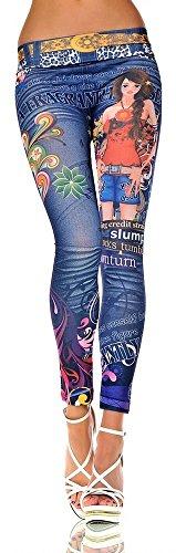 G209 Damen Hose Leggings Röhre Jeggings Treggings Strech Jeans Look, 1016965490_blu, One Size, aber passend für ca. 34-38 -