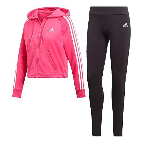 adidas Damen Hoodie und Tights Trainingsanzug, Real Magenta/Black, M (Abdeckung Hoodie Womens)