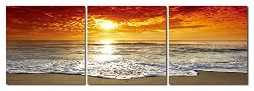 Haus und Deko Wandbild 3er Set Sonnenuntergang Meer Romantik Wolken Himmel Strand Natur Fotodruck 3 Bilder auf Holzfaserplatte je 40x40 cm einfache Montage -