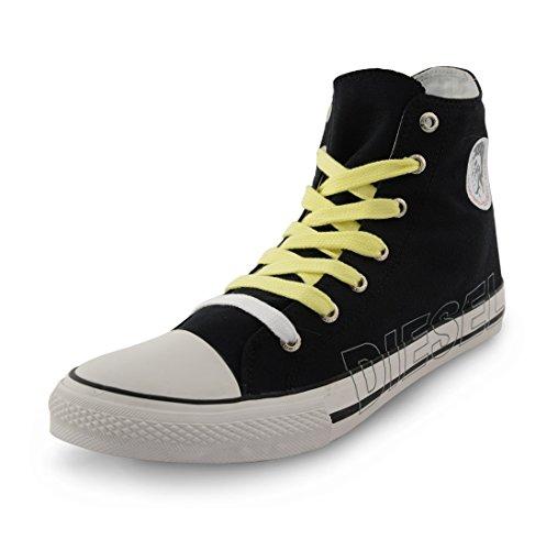 Diesel-High Top formateurs Casual plimsole Chaussures en toile Noir - noir