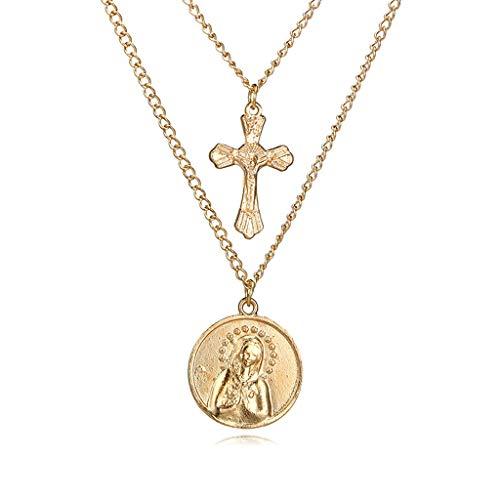926f00adf86e Collar de múltiples capas de la Virgen María Colgante Jesucristo Cruz  Joyería de moda – Collar de múltiples capas de la Virgen María Colgante  Jesucristo ...