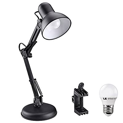 LE Swing Arm Desk Lamp, 5W G45 E27 LED Bulb included, Equal to 40W Incandescent bulbs, Daylight White, Regular E27 Sized Socket, C-clamp Mounted Table Lamp, Architects Desk Lamp - cheap UK light shop.
