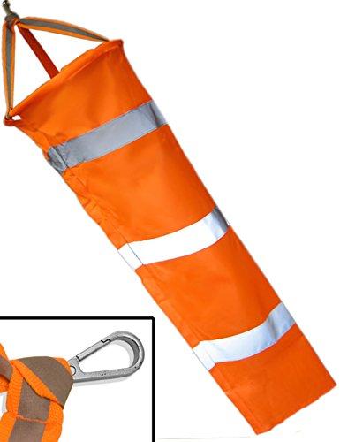 HOMETOOLS.EU® - Wind-Sack Wind-Fahne bekannt aus Luftfahrt Airport | wetterfest, mit Karabiner Befestigung, Orange, Reflektor-Streifen | 80 cm Ø 23cm
